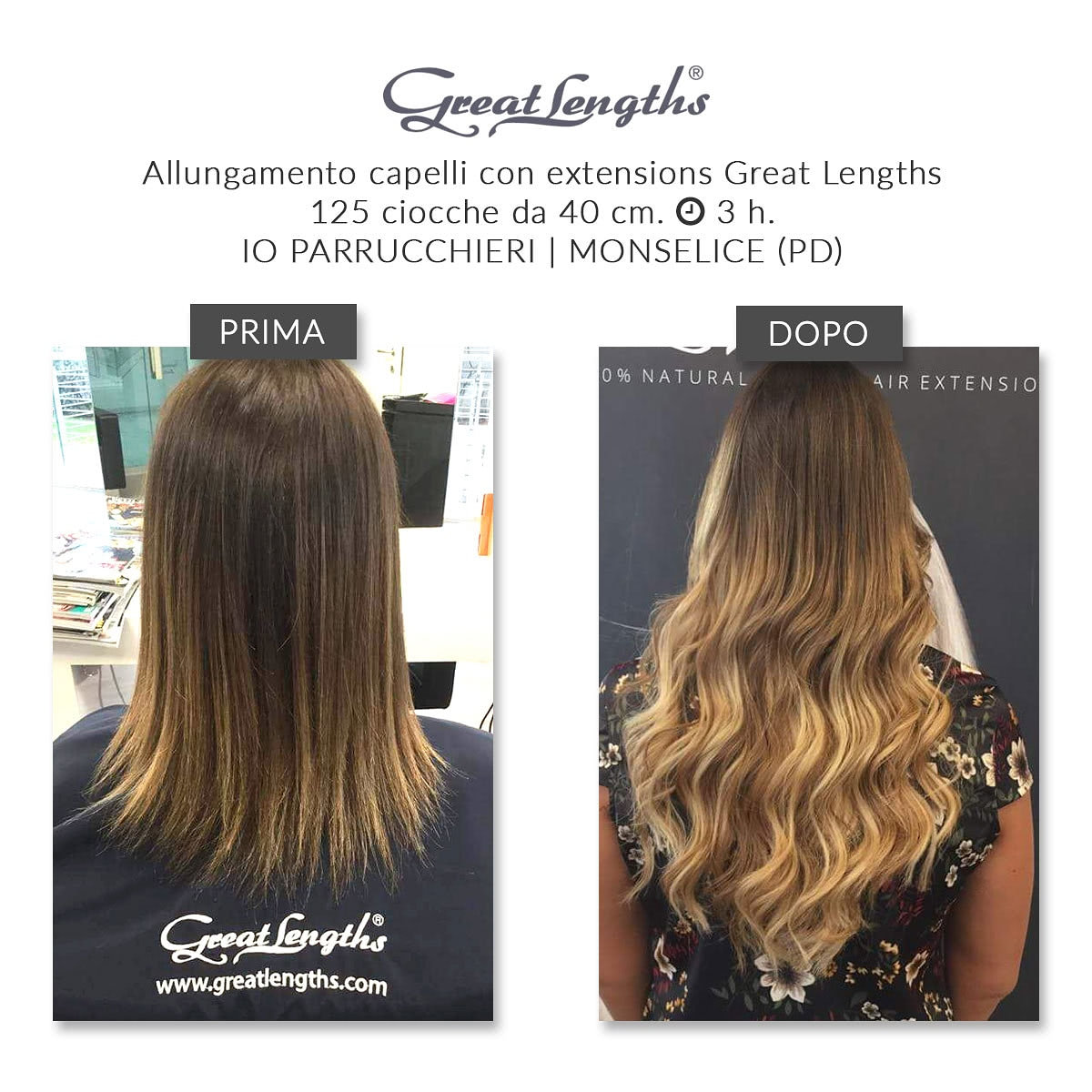 Allungamento capelli Monselice Padova con extensions Great Lenghts